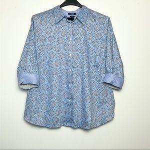 Chaps floral print button down blouse. 2x